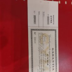 Vintage: GARANTIA RELOG CYMA 22010 JOYERIA REGUELA LUGO 1955. Lote 179149040