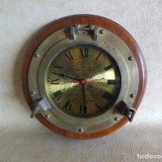 Vintage: RELOJ VENTANA DE BARCO 35 CM DIAMETRO BRONCE JUNGHANS QUARTZ W737. Lote 91963022