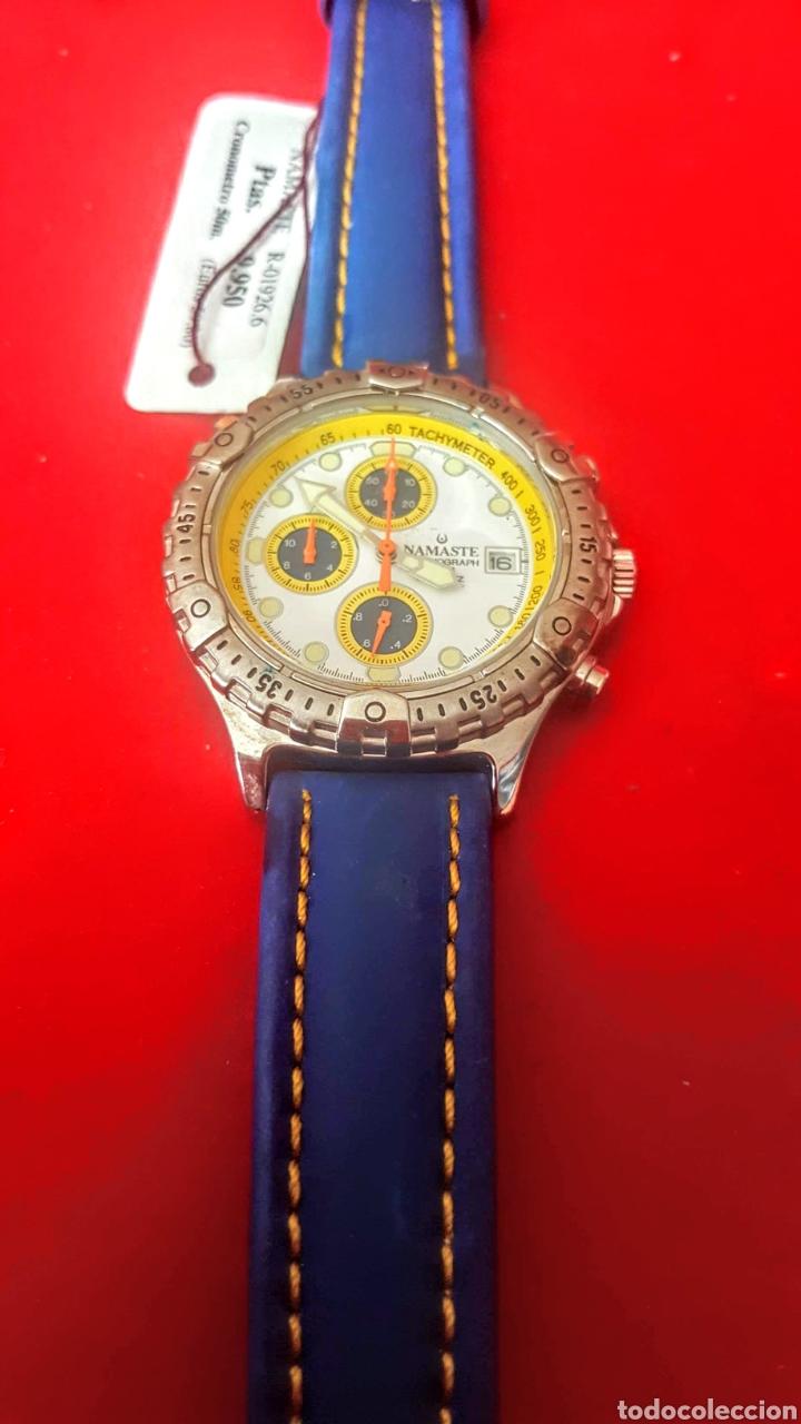 Vintage: Reloj NAMASTE CRONOGRAFO CALENDARIO NUEVO SIN ESTRENAR FUNCIONA PERFECTAMENTE DIÁMETRO 40MILIMETROS - Foto 3 - 194208655