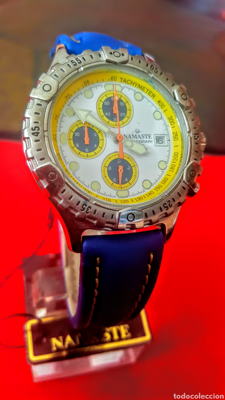 Vintage: Reloj NAMASTE CRONOGRAFO CALENDARIO NUEVO SIN ESTRENAR FUNCIONA PERFECTAMENTE DIÁMETRO 40MILIMETROS - Foto 4 - 194208655