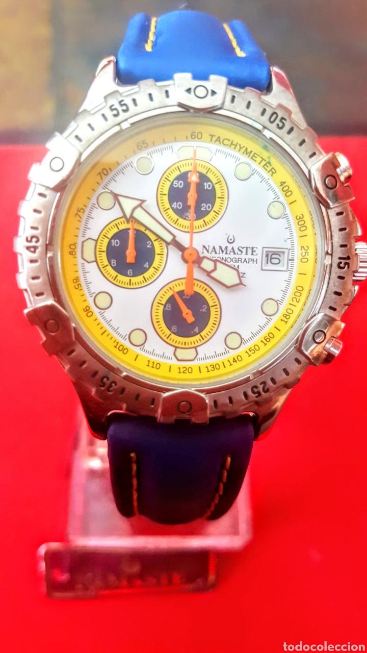 RELOJ NAMASTE CRONOGRAFO CALENDARIO NUEVO SIN ESTRENAR FUNCIONA PERFECTAMENTE DIÁMETRO 40MILIMETROS (Relojes - Relojes Vintage )