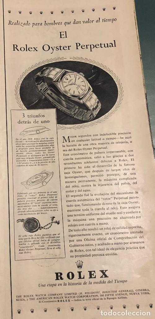 PUBLICIDAD DE PRENSA DE RELOJES ROLEX OYSTER. ORIGINAL AÑO 1954. 14 X 35 CM. BUEN ESTADO. (Relojes - Relojes Vintage )