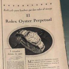 Vintage: PUBLICIDAD DE PRENSA DE RELOJES ROLEX OYSTER. ORIGINAL AÑO 1954. 14 X 35 CM. BUEN ESTADO.. Lote 206288747