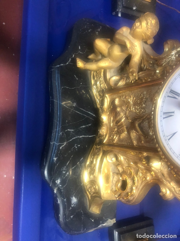 Vintage: Reloj de Bronce y par de candelabros. - Foto 7 - 206937660