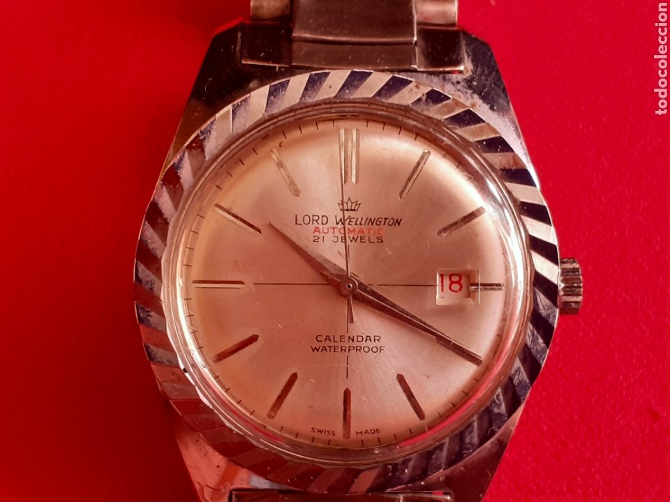 RELOJ LORD WELLINGTON AUTOMATIC 21 JEWELS CALENDARIO WATERPROOF FUNCIONA BIEN .MIDE 35 MM DIAMETRO (Relojes - Relojes Vintage )