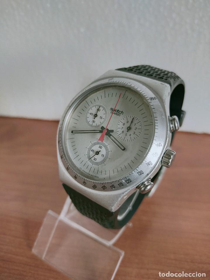 Vintage: Reloj caballero SWATCH Irony crono de cuarzo Suizo correa negra goma, funcionando para su uso diario - Foto 2 - 213242875