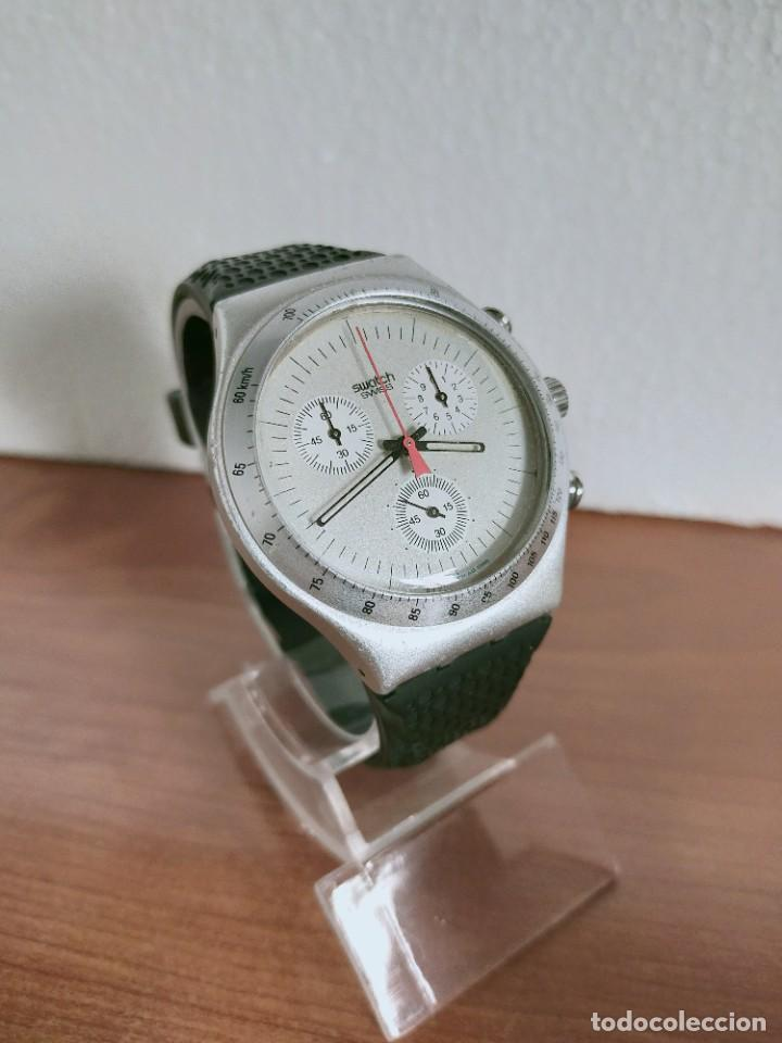 Vintage: Reloj caballero SWATCH Irony crono de cuarzo Suizo correa negra goma, funcionando para su uso diario - Foto 3 - 213242875