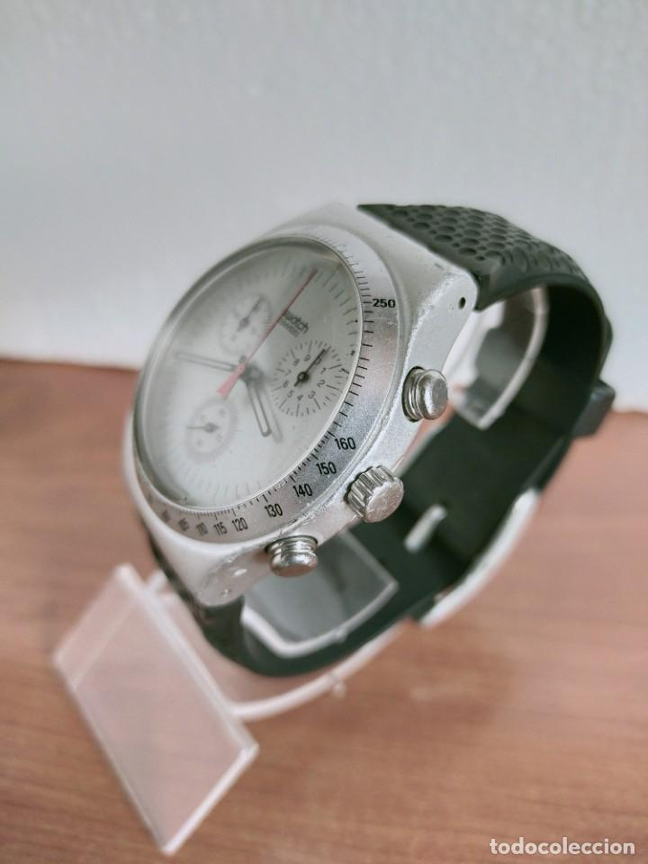 Vintage: Reloj caballero SWATCH Irony crono de cuarzo Suizo correa negra goma, funcionando para su uso diario - Foto 4 - 213242875