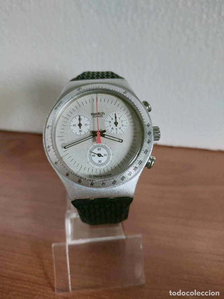 Vintage: Reloj caballero SWATCH Irony crono de cuarzo Suizo correa negra goma, funcionando para su uso diario - Foto 5 - 213242875