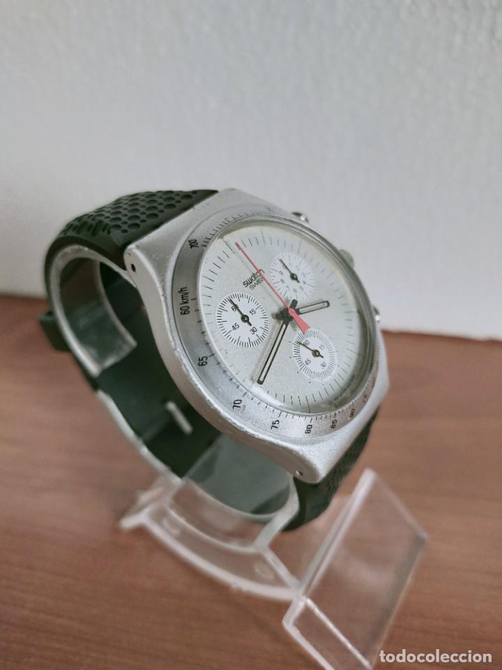 Vintage: Reloj caballero SWATCH Irony crono de cuarzo Suizo correa negra goma, funcionando para su uso diario - Foto 7 - 213242875