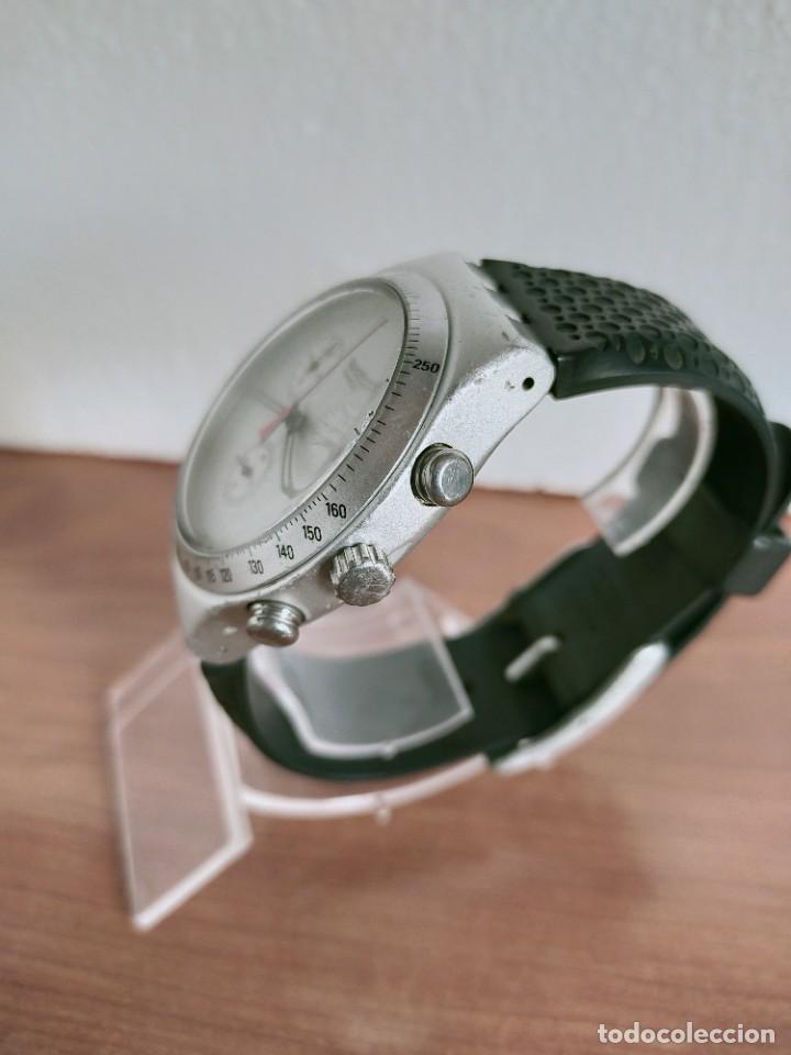 Vintage: Reloj caballero SWATCH Irony crono de cuarzo Suizo correa negra goma, funcionando para su uso diario - Foto 9 - 213242875