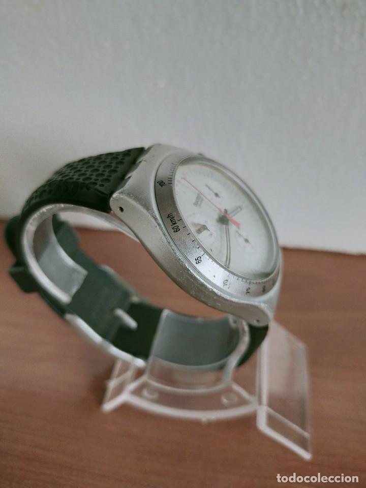 Vintage: Reloj caballero SWATCH Irony crono de cuarzo Suizo correa negra goma, funcionando para su uso diario - Foto 11 - 213242875