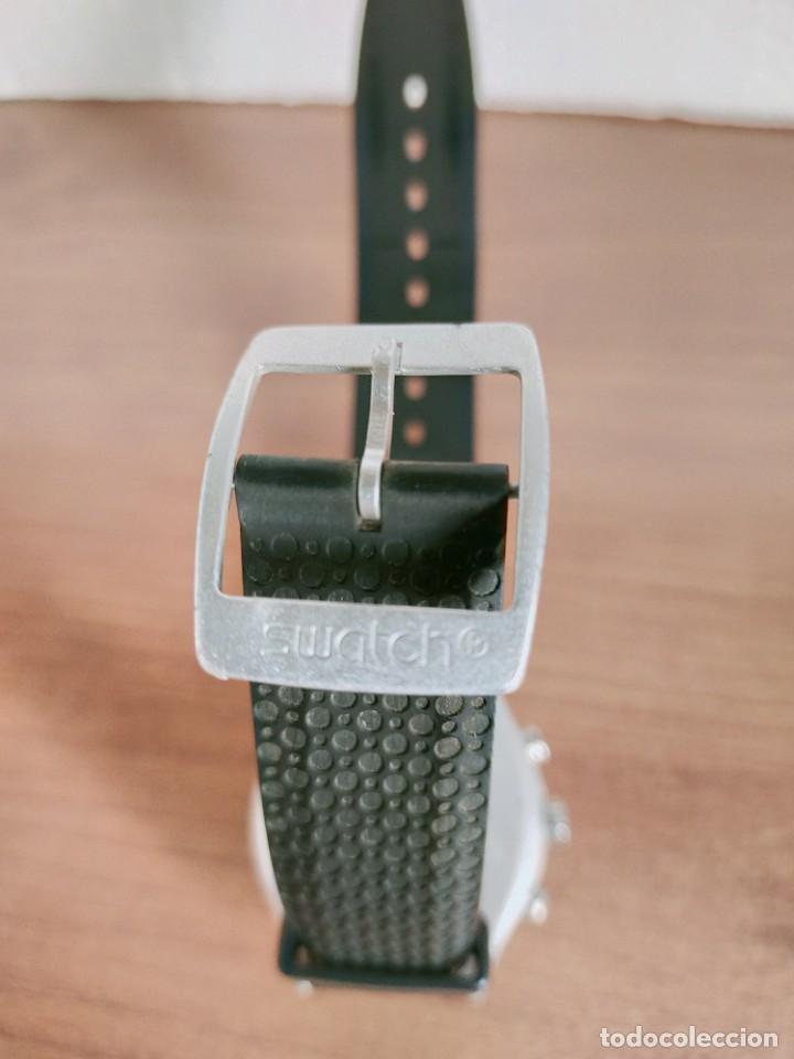 Vintage: Reloj caballero SWATCH Irony crono de cuarzo Suizo correa negra goma, funcionando para su uso diario - Foto 8 - 213242875