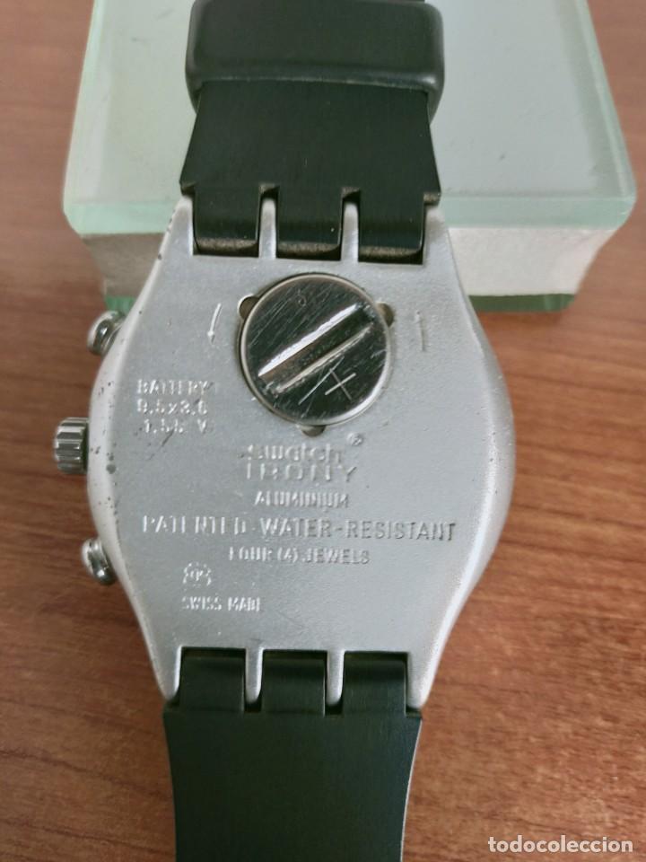Vintage: Reloj caballero SWATCH Irony crono de cuarzo Suizo correa negra goma, funcionando para su uso diario - Foto 10 - 213242875