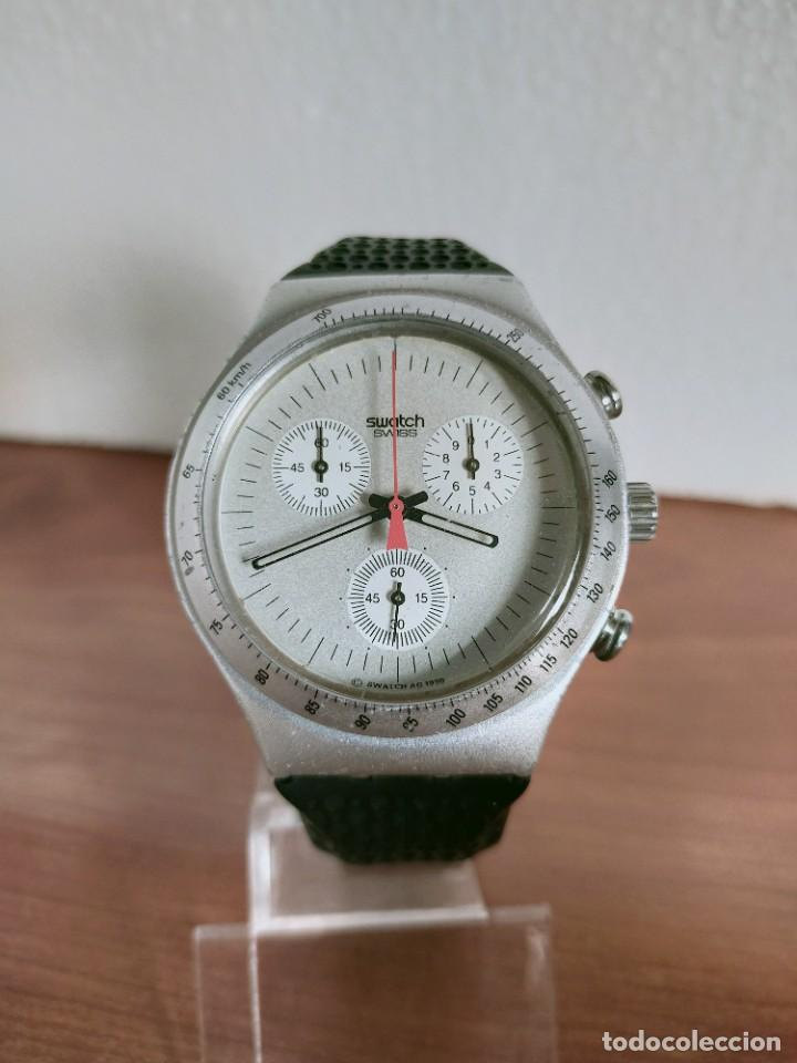 RELOJ CABALLERO SWATCH IRONY CRONO DE CUARZO SUIZO CORREA NEGRA GOMA, FUNCIONANDO PARA SU USO DIARIO (Relojes - Relojes Vintage )