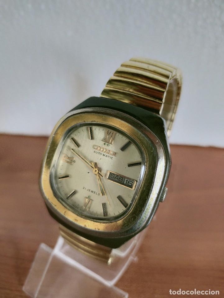 Vintage: Reloj caballero (Vintage) CITIZEN automático 21 rubis con doble calendario, correa acero de estirar. - Foto 3 - 213262191