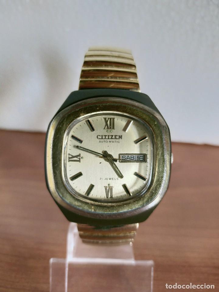 Vintage: Reloj caballero (Vintage) CITIZEN automático 21 rubis con doble calendario, correa acero de estirar. - Foto 5 - 213262191