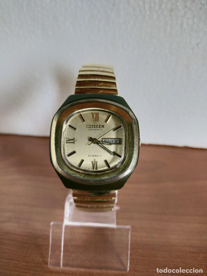 RELOJ CABALLERO (VINTAGE) CITIZEN AUTOMÁTICO 21 RUBIS CON DOBLE CALENDARIO, CORREA ACERO DE ESTIRAR. (Relojes - Relojes Vintage )