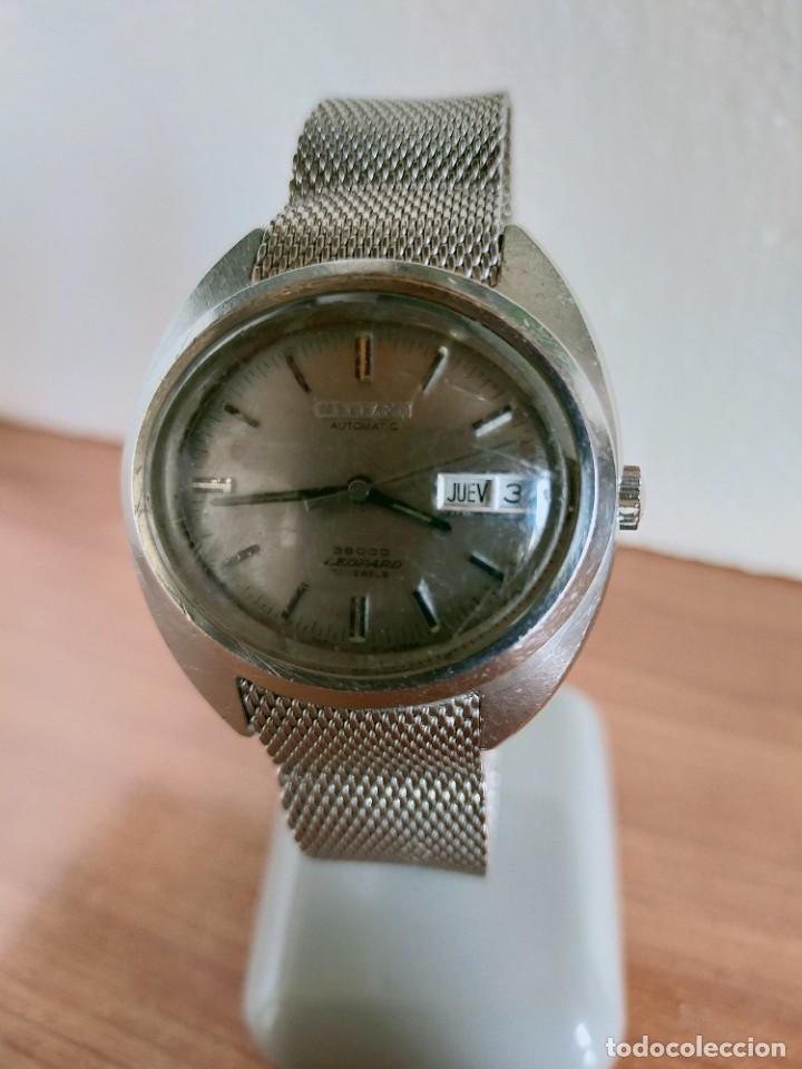 Vintage: Reloj caballero (Vintage) CITIZEN automático 28 rubis con calendario, correa acero original. - Foto 3 - 213157641