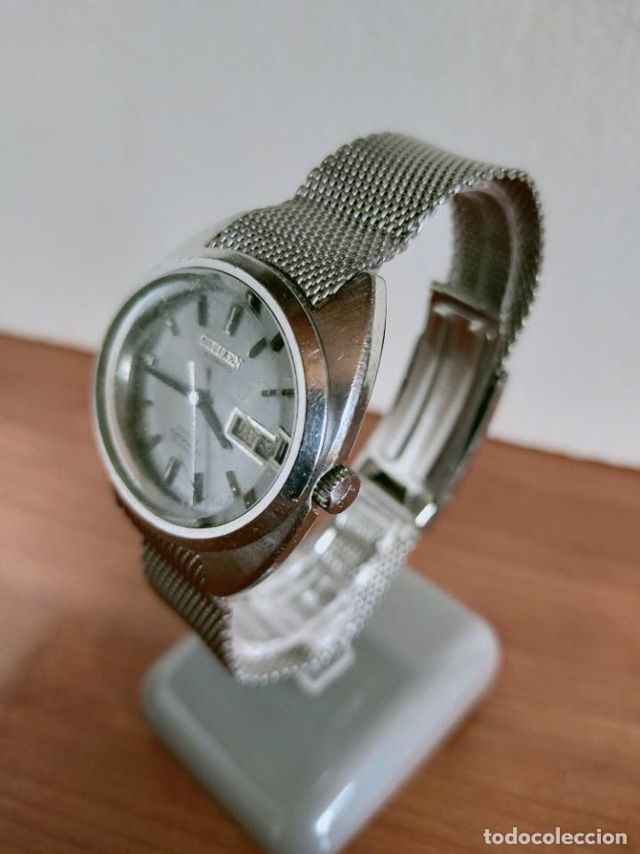 Vintage: Reloj caballero (Vintage) CITIZEN automático 28 rubis con calendario, correa acero original. - Foto 4 - 213157641