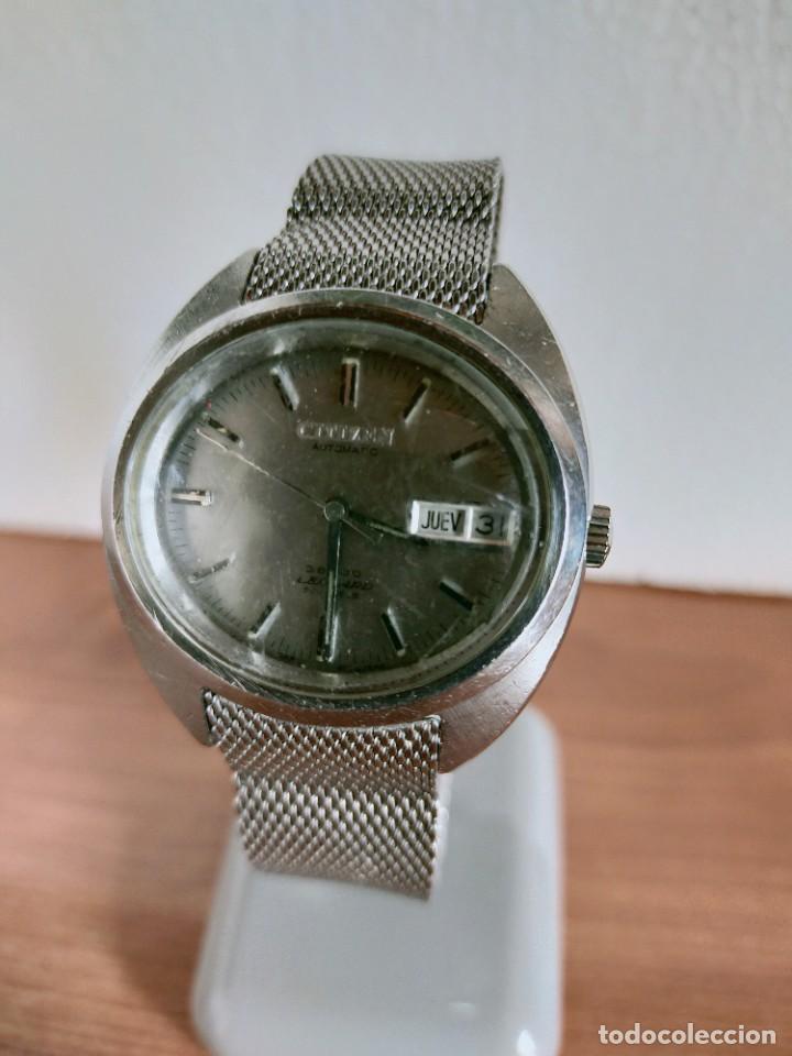 RELOJ CABALLERO (VINTAGE) CITIZEN AUTOMÁTICO 28 RUBIS CON CALENDARIO, CORREA ACERO ORIGINAL. (Relojes - Relojes Vintage )