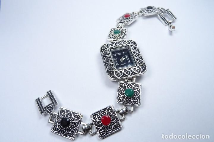 RELOJ EN PLATA ENVEJECIDA VINTAGE CON PIEDRAS PRECIOSAS Y RELIEVES (Relojes - Relojes Vintage )