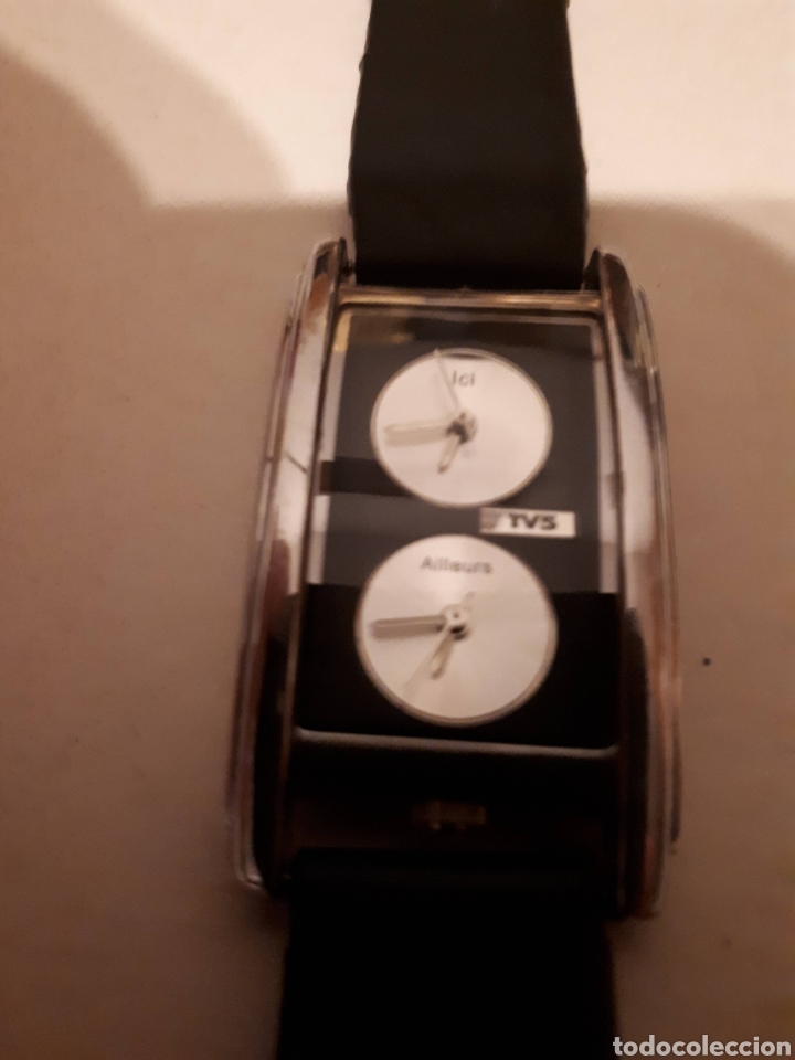RELOJ DE PULSERA DE DOBLE USO HORARIO CON PULSERA DE CUERO DE QUARZO FUNCIONANDO. (Relojes - Relojes Vintage )