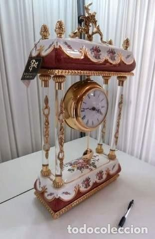 RELOJ PORCELANA Y BRONCE BAÑO ORO (Relojes - Relojes Vintage )