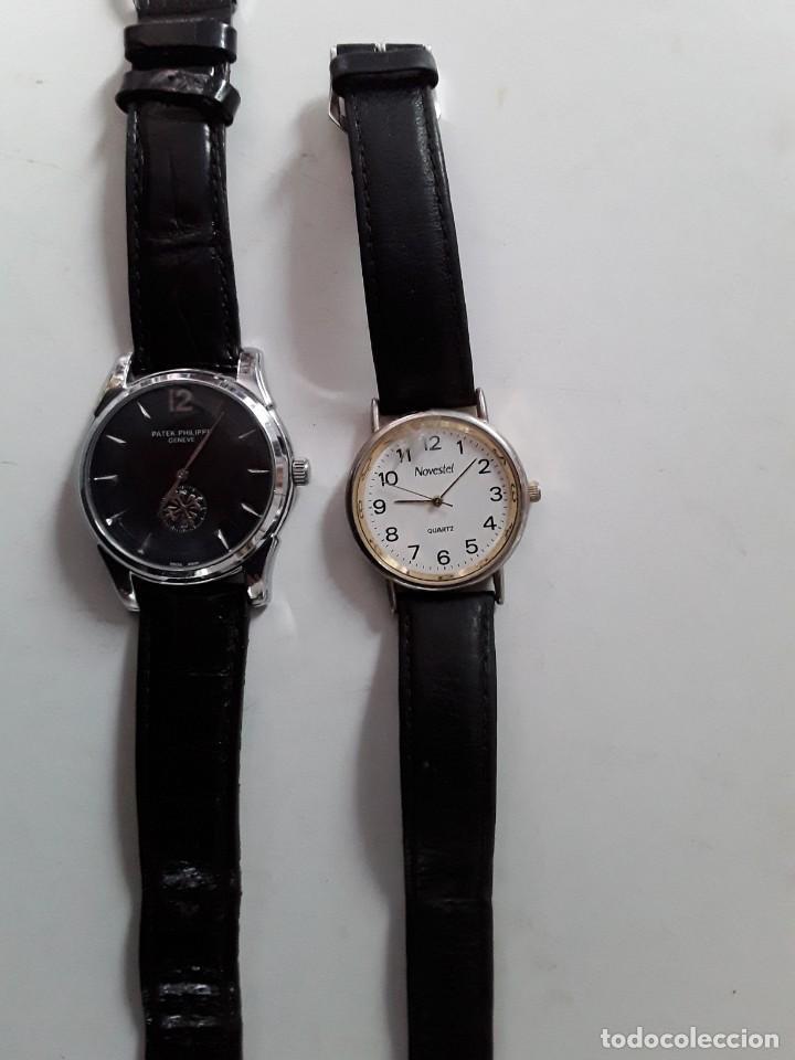 DOS RELOJES, UNO PATEK PHILIPPE GENEVE (COPIA) Y EL OTRO NOVESTEL QUARTZ. PARA RESTAURAR (Relojes - Relojes Vintage )