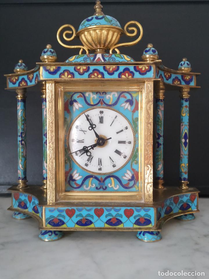RELOJ DE SOBREMESA ESMALTE CLOISONNÉ CHINA AÑOS 50 (Relojes - Relojes Vintage )