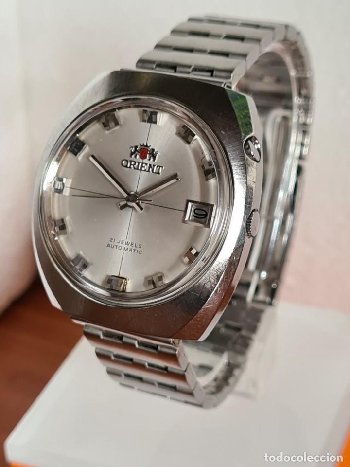 Vintage: Reloj caballero (Vintage) ORIENT automatico acero calendario las tres, correa acero, todo original. - Foto 2 - 231729675