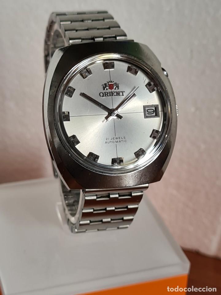 Vintage: Reloj caballero (Vintage) ORIENT automatico acero calendario las tres, correa acero, todo original. - Foto 3 - 231729675