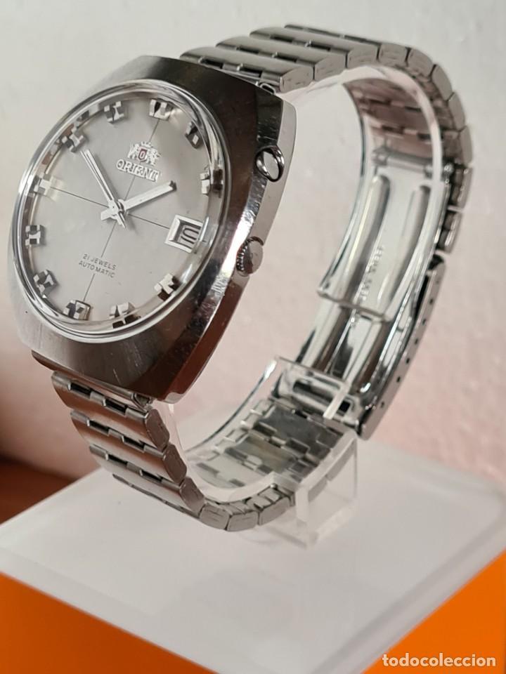 Vintage: Reloj caballero (Vintage) ORIENT automatico acero calendario las tres, correa acero, todo original. - Foto 7 - 231729675