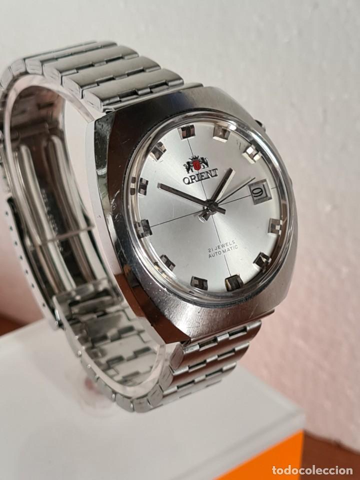 Vintage: Reloj caballero (Vintage) ORIENT automatico acero calendario las tres, correa acero, todo original. - Foto 8 - 231729675