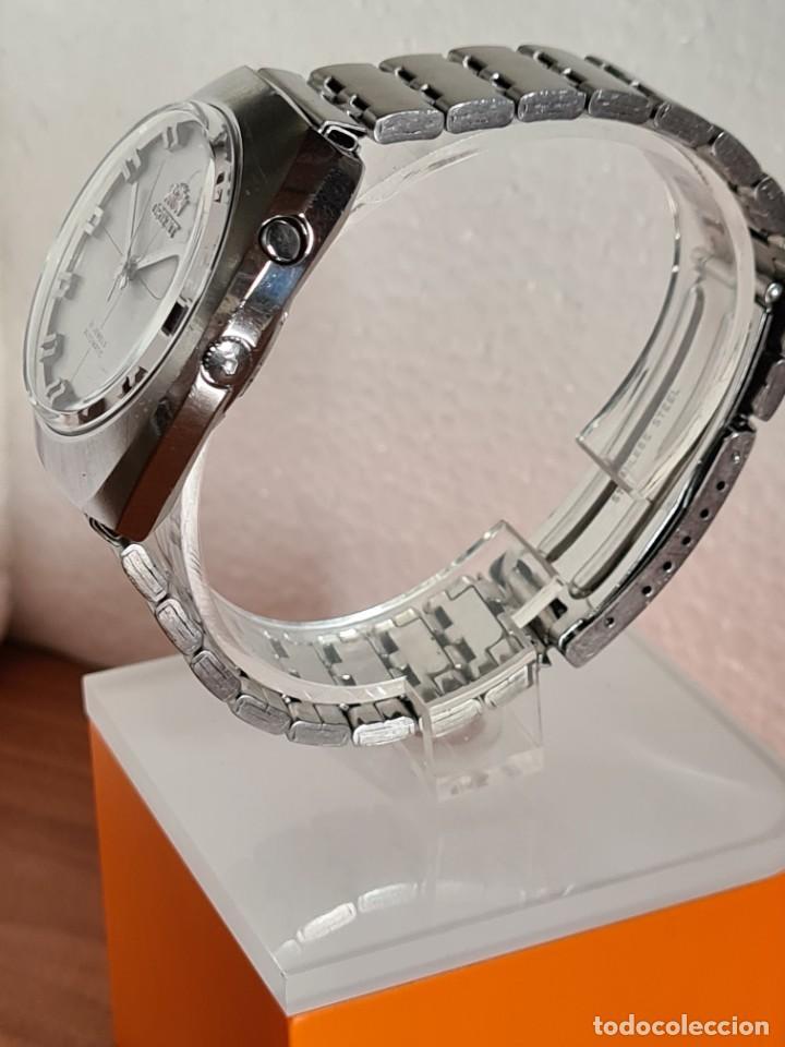 Vintage: Reloj caballero (Vintage) ORIENT automatico acero calendario las tres, correa acero, todo original. - Foto 9 - 231729675