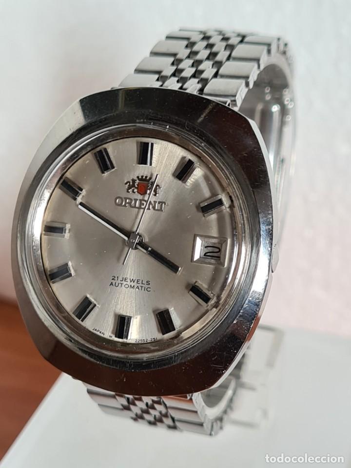 Vintage: Reloj caballero (Vintage) ORIENT automatico acero calendario las tres, correa acero, todo original. - Foto 2 - 231730290