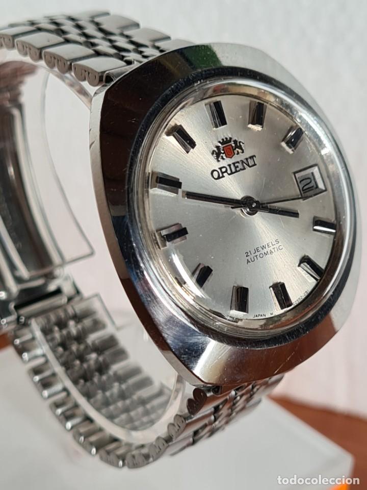 Vintage: Reloj caballero (Vintage) ORIENT automatico acero calendario las tres, correa acero, todo original. - Foto 3 - 231730290