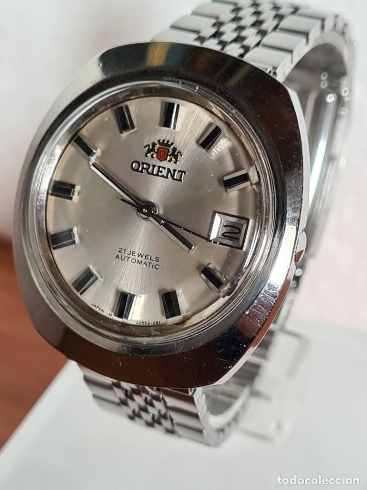 Vintage: Reloj caballero (Vintage) ORIENT automatico acero calendario las tres, correa acero, todo original. - Foto 4 - 231730290