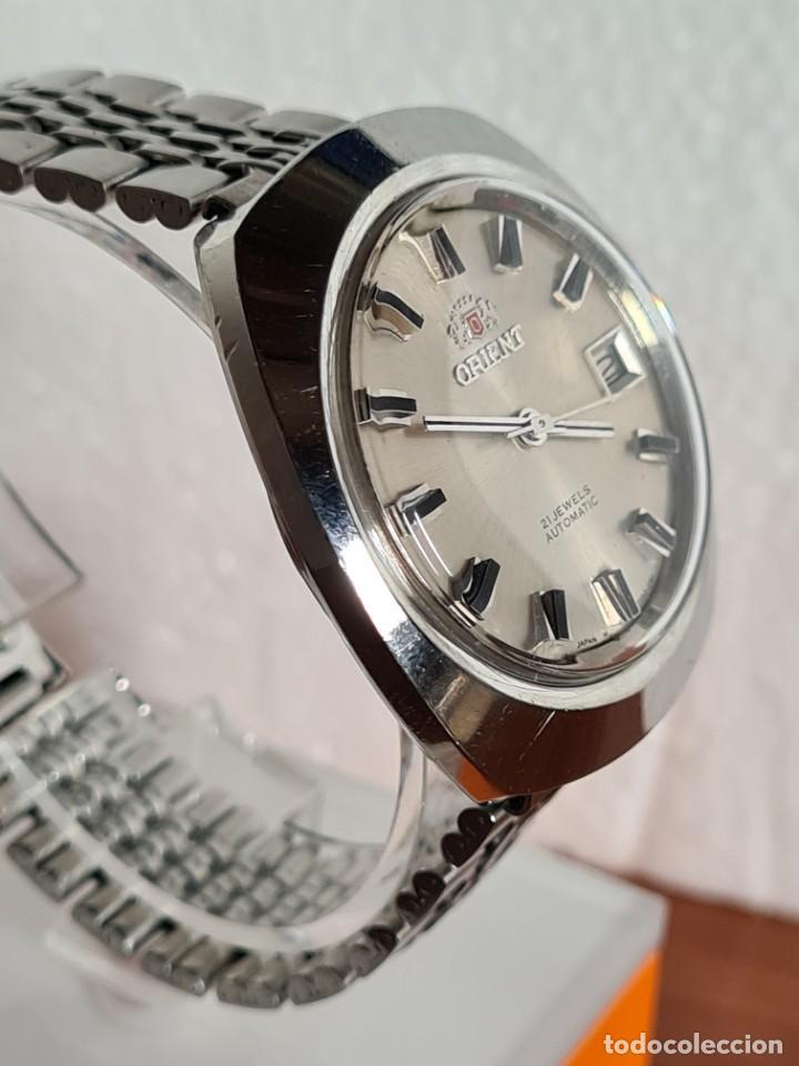 Vintage: Reloj caballero (Vintage) ORIENT automatico acero calendario las tres, correa acero, todo original. - Foto 5 - 231730290
