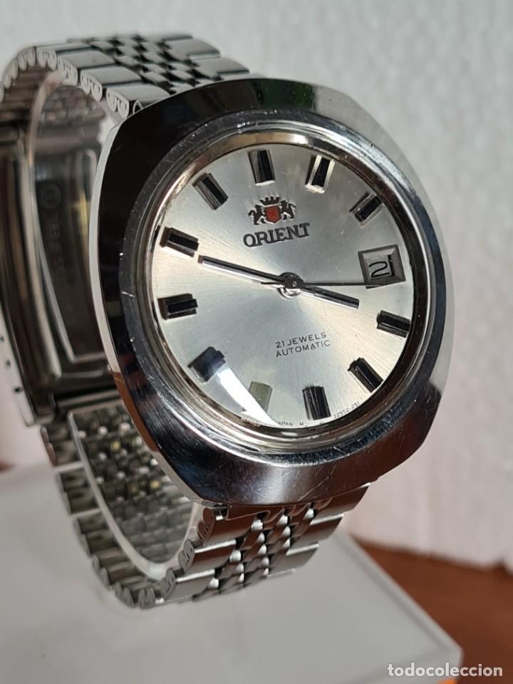 Vintage: Reloj caballero (Vintage) ORIENT automatico acero calendario las tres, correa acero, todo original. - Foto 10 - 231730290