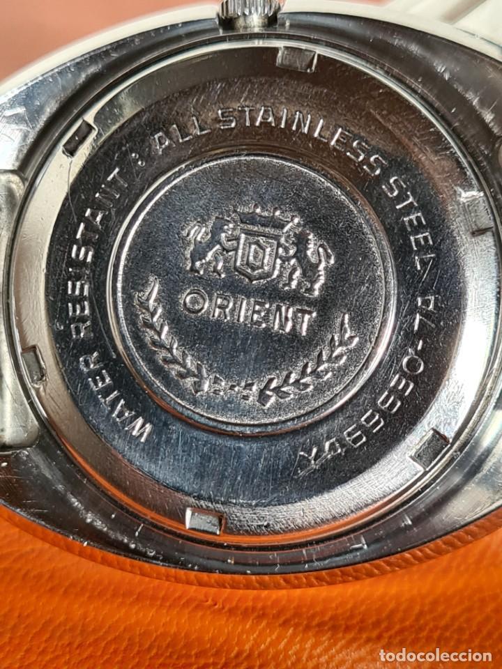 Vintage: Reloj caballero (Vintage) ORIENT automatico acero calendario las tres, correa acero, todo original. - Foto 13 - 231730290