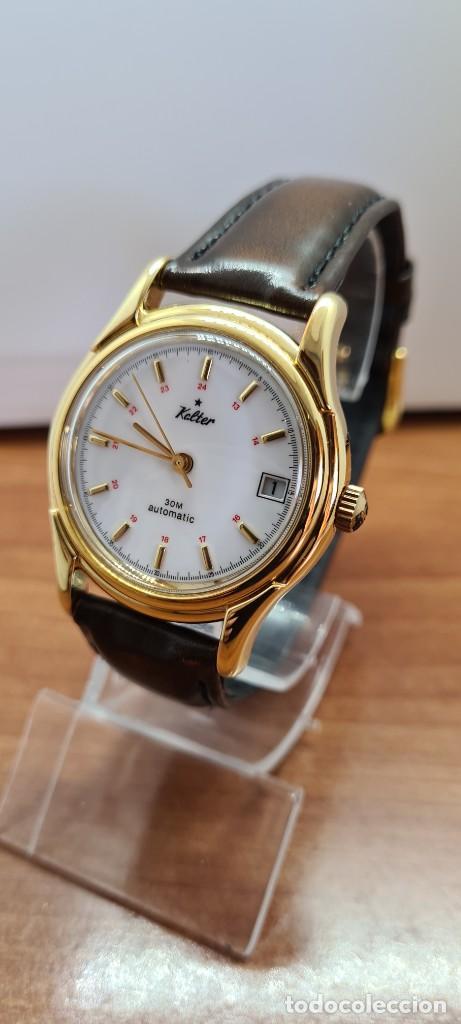 Vintage: Reloj caballero KALTER automatic chapado de oro, esfera blanca, calendario a las tres, correa marrón - Foto 2 - 253998305