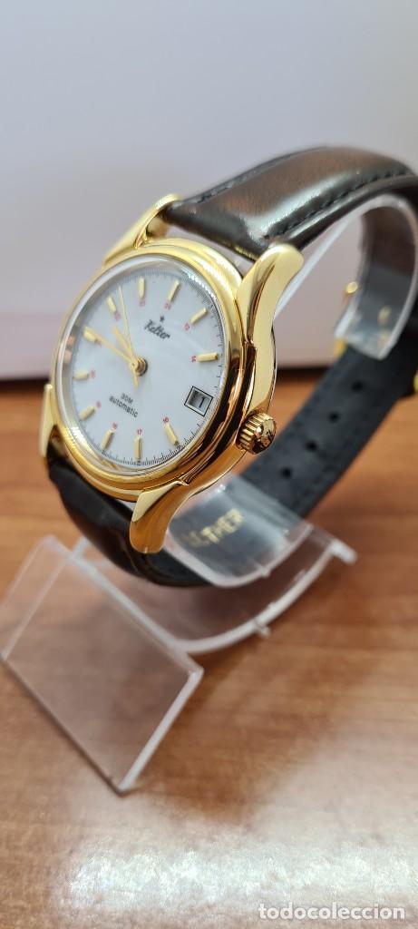 Vintage: Reloj caballero KALTER automatic chapado de oro, esfera blanca, calendario a las tres, correa marrón - Foto 4 - 253998305
