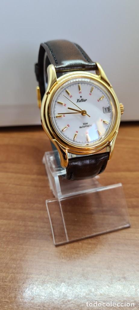 Vintage: Reloj caballero KALTER automatic chapado de oro, esfera blanca, calendario a las tres, correa marrón - Foto 5 - 253998305