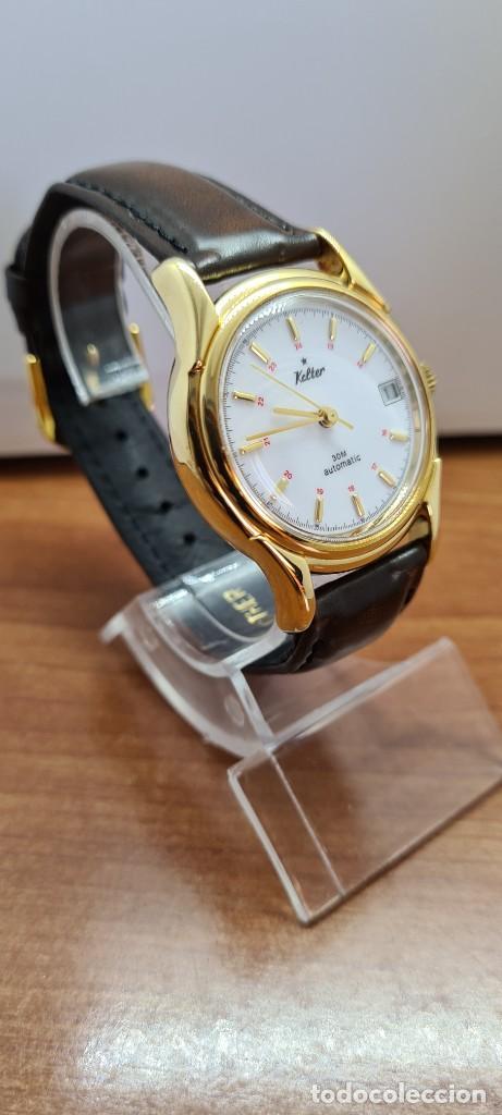 Vintage: Reloj caballero KALTER automatic chapado de oro, esfera blanca, calendario a las tres, correa marrón - Foto 13 - 253998305