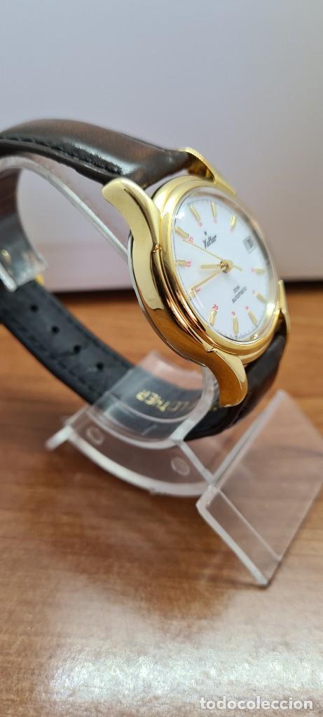Vintage: Reloj caballero KALTER automatic chapado de oro, esfera blanca, calendario a las tres, correa marrón - Foto 15 - 253998305