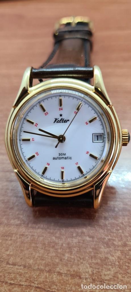 Vintage: Reloj caballero KALTER automatic chapado de oro, esfera blanca, calendario a las tres, correa marrón - Foto 18 - 253998305