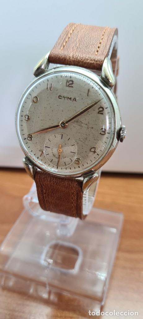 Vintage: Reloj (Vintage) CYMA Acero de cuerda calibre CYMA 586K, esfera blanca, agujas originales 17 rubíes. - Foto 2 - 255431650