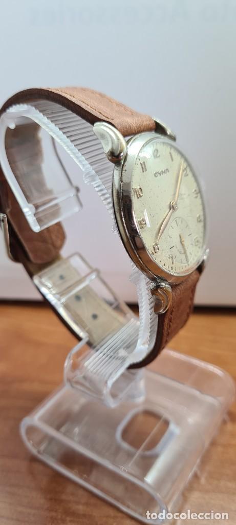 Vintage: Reloj (Vintage) CYMA Acero de cuerda calibre CYMA 586K, esfera blanca, agujas originales 17 rubíes. - Foto 5 - 255431650