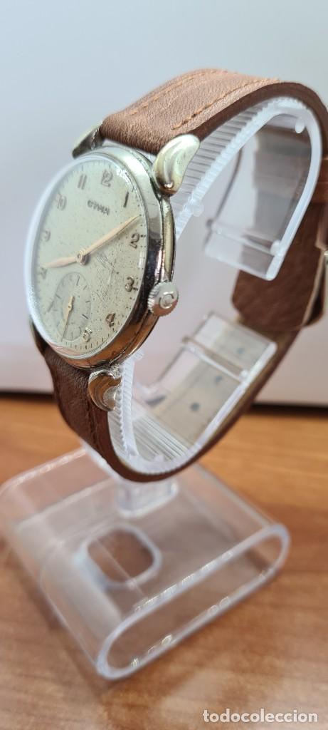 Vintage: Reloj (Vintage) CYMA Acero de cuerda calibre CYMA 586K, esfera blanca, agujas originales 17 rubíes. - Foto 6 - 255431650